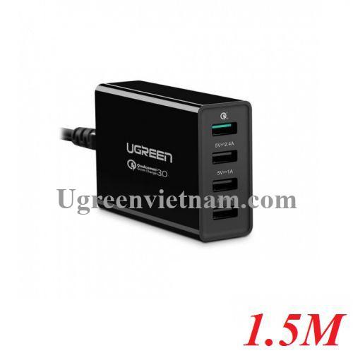 Ugreen 20375 1.5M màu Đen Đế sạc để bàn 4 cổng USB hỗ trợ sạc nhanh CD102 20020375