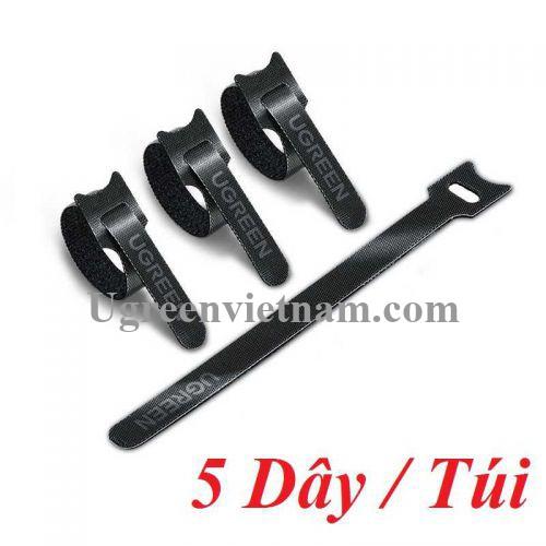 Ugreen 86419 5 sợi 18cm màu đen Dây dán Velcro tiện dụng chất liệu plastic 1 túi có 5 chiếc 20245P5 LP401 20086419