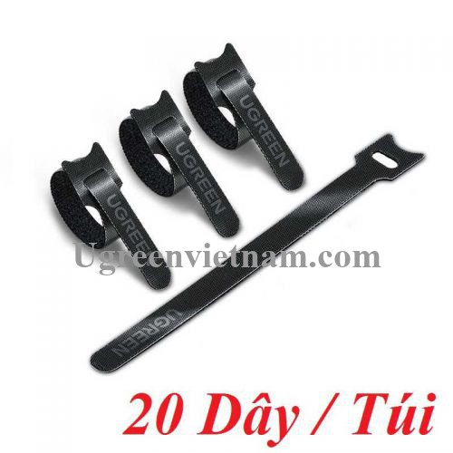 Ugreen 88946 20 sợi 18cm màu đen Dây dán Velcro tiện dụng chất liệu plastic 1 túi có 20 chiếc 20245P20 LP401 20088946