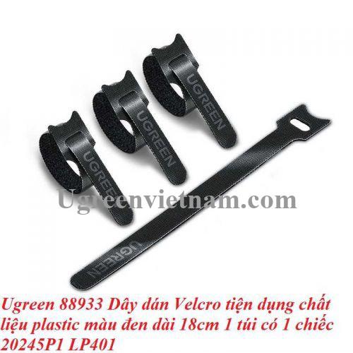 Ugreen 88933 1 sợi 18cm màu đen Dây dán Velcro tiện dụng chất liệu plastic 1 túi có 1 chiếc 20245P1 LP401 20088933