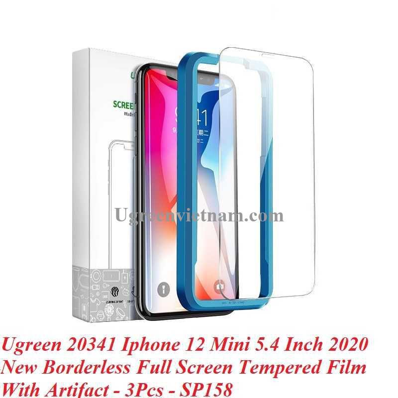 Ugreen 20341 3 miếng dán Iphone 12 Mini 5.4inch Trong suốt 9H cường lực bảo vệ chống rơi SP158 20020341
