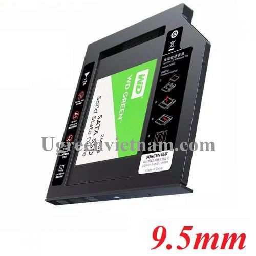 Ugreen 70657 9.5mm caddy bay khay đựng ổ cứng và ssd 2.5inch sata mỏng gắn vào khe cd - dvd của laptop CM322 20070657
