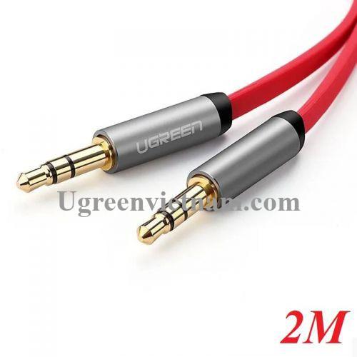 Ugreen 10794 2M màu Đỏ Cáp âm thanh 2 đầu 3.5mm dương dây dẹt AV119