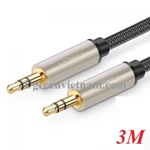 Ugreen 10605 3M màu Xám Cáp âm thanh 2 đầu 3.5mm dương cao cấp AV125