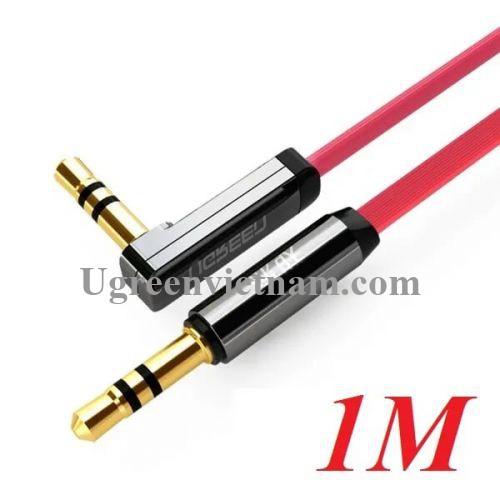 Ugreen 10798 1M Đỏ Cáp âm thanh 2 đầu 3.5mm dương chữ L dây dẹt 10798
