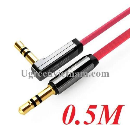 Ugreen 10797 0.5M Đỏ Cáp âm thanh 2 đầu 3.5mm dương chữ L dây dẹt AV119