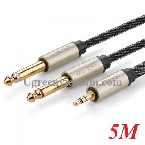 Ugreen 10619 5M màu Đen Cáp âm thanh 2 đầu 6.5mm dương sang 3.5mm dương AV126
