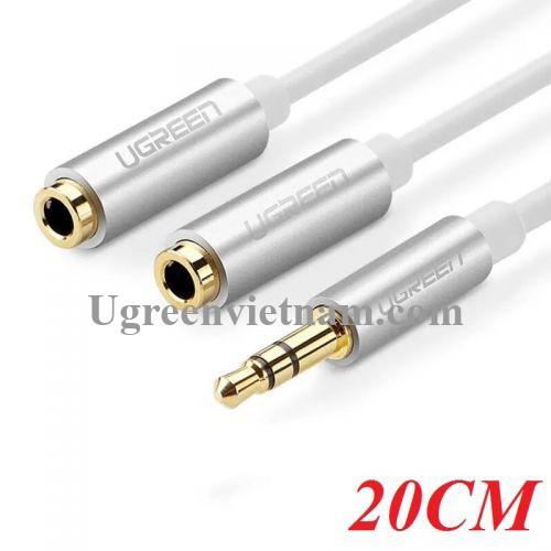 Ugreen 10780 20CM màu trắng cáp chia âm thanh 3.5Mm 1 đầu đực ra 2 đầu cái mạ vàng AV123