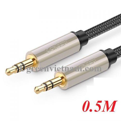 Ugreen 10601 0.5M màu xám đen cáp 3.5mm Pro audio đầu kim loại dây dù bọc chống nhiễu 50cm AV125 20010601