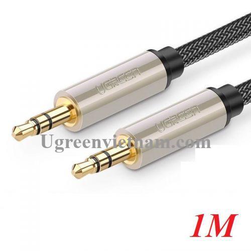 Ugreen 10602 1M màu xám đen cáp 3.5mm Pro audio đầu kim loại dây dù bọc chống nhiễu AV125 20010602