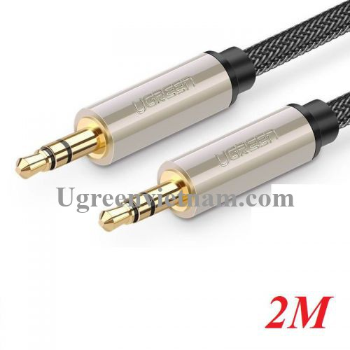 Ugreen 10604 2M màu xám đen cáp 3.5mm Pro audio đầu kim loại dây dù bọc chống nhiễu AV125 20010604