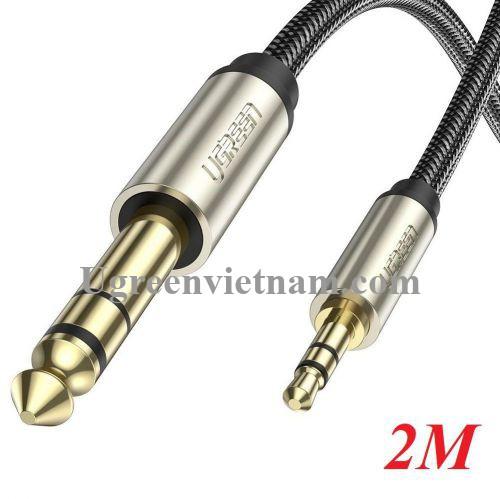 Ugreen 10628 2M màu xám đen cáp 3.5mm TRS ra 6.35mm TS Stereo Pro Audio mạ vàng 24K AV127 20010628