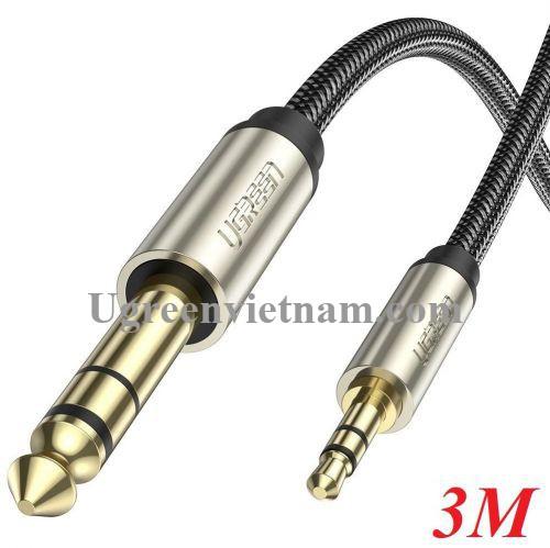 Ugreen 10629 3M màu xám đen cáp 3.5mm TRS ra 6.35mm TS Stereo Pro Audio mạ vàng 24K AV127 20010629