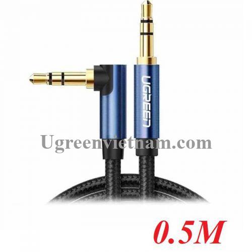 ugreen 60178 0.5M bẻ góc 90 độ cáp 3.5mm màu đen đầu xanh dương mạ vàng 24k 50cm AV112 20060178