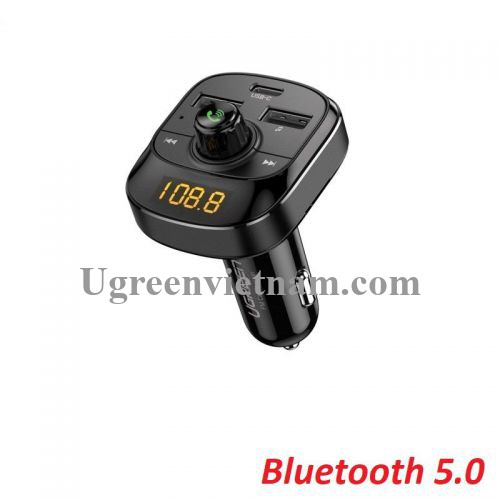 Ugreen 70717 Bluetooth 5.0 FM Transmitter cổng sạc usb A và type C hỗ trợ QC PD màn hình LED có đọc thẻ TF màu đen dùng cho xe hơi ED040 20070717