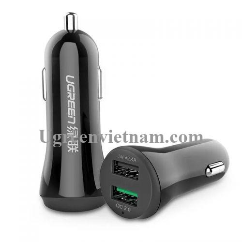 Ugreen 20757 30W màu Đen Bộ sạc ô tô 2 cổng USB 2.4A + QC 2.0 CD114