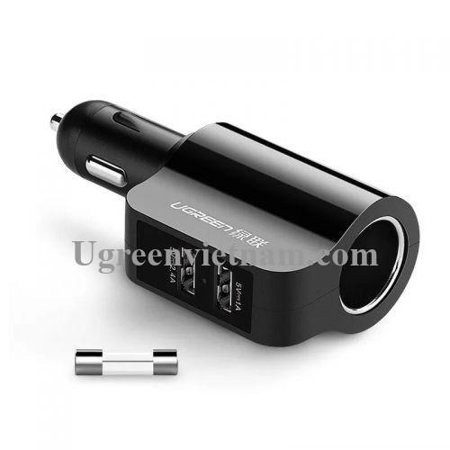 Ugreen 20394 Màu Đen Bộ sạc ô tô 2 cổng USB + 1 Cổng mở rộng 12V CD115