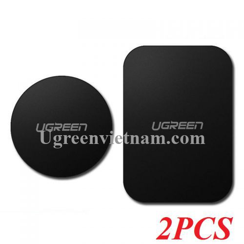 Ugreen 60410 2 miếng dán kim loại từ tính 1 tròn và 1 chữ nhật dành cho điện thoại hoặc giá đỡ ô tô LP123 20060410