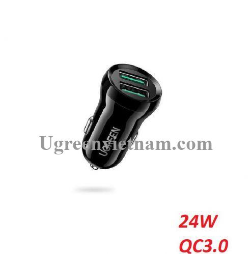Ugreen 70192 24W 2 cổng usb type A hỗ trợ QC 3.0 sạc nhanh trên xe hơi ED037 20070192