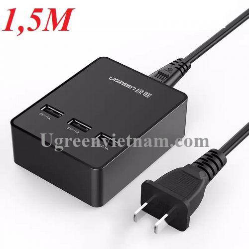 Ugreen 20385 1.5M màu Đen Đế sạc để bàn 3 cổng USB hỗ trợ sạc nhanh CD101