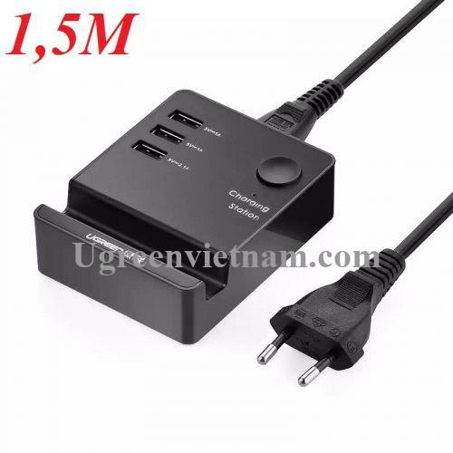 Ugreen 20386 1.5M màu Đen Đế sạc để bàn 3 cổng USB Kèm nút On Off CD101