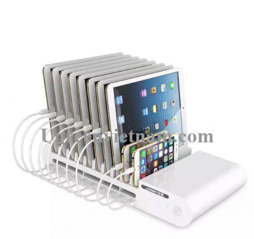 Ugreen 20380 96W màu Trắng Bộ sạc đa căng USB 10 cổng cao cấp + 10 khe đựng điện thoại CD108