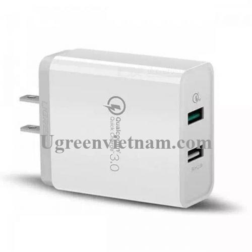 Ugreen 40713 30W màu Trắng Củ sạc nhanh 2 cổng USB chuẩn QC 3.0 + 2.4A CD132 20040713