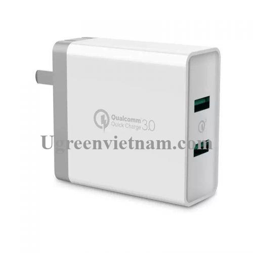 Ugreen 40715 36W màu Trắng Củ sạc nhanh 2 cổng USB chuẩn QC 3.0 CD161 20040715