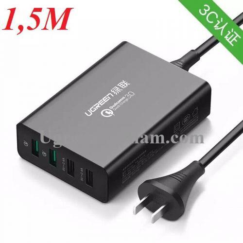 Ugreen 40716 1.5M màu Đen Củ sạc nhanh USB chuẩn QC 3.0 + 2 cổng 2.4A CD162