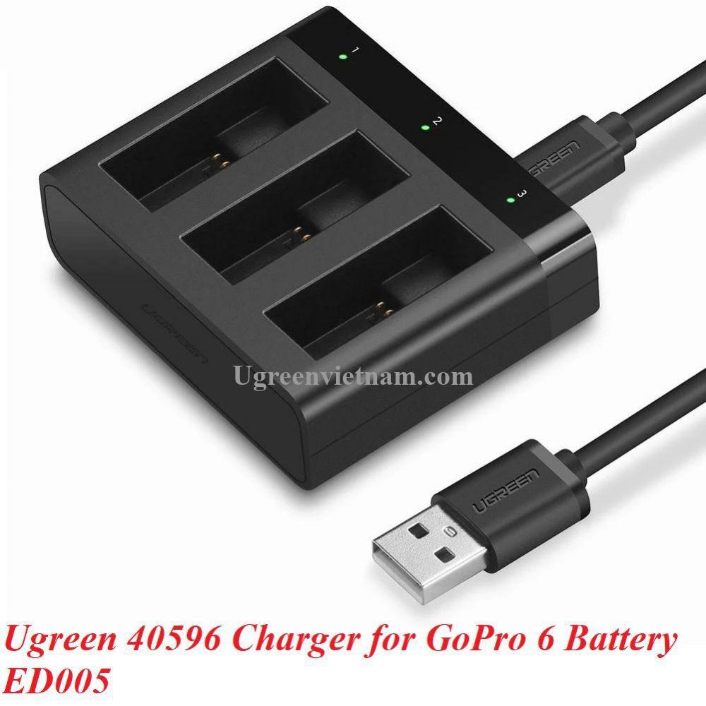 Ugreen 40596 GoPro màu đen Bộ sạc nhanh 3 pin cho máy quay Go Pro kèm cáp USB mini ED005 20040596