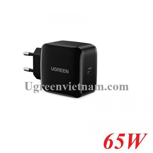 Ugreen 70817 65W PD 3.0 4.0 sạc 1 cổng USB type C - 2 chân cắm tròn chuẩn EU công nghệ GaN màu đen CD217 20070817