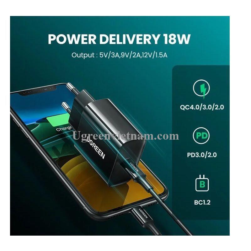 Ugreen 10191 18W QC3.0 Usb type c sạc nhanh nhựa ABS màu đen EU CD137 20010191