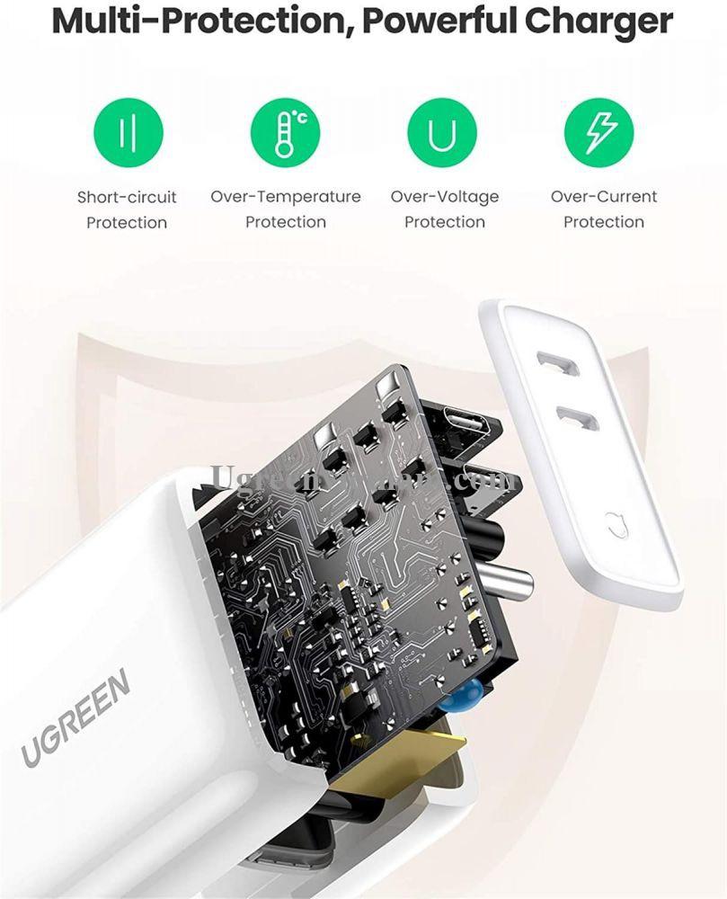 Ugreen 70264 36W 2 cổng USB type C hỗ trợ PD màu trắng bộ sạc nhanh CD199 20070264