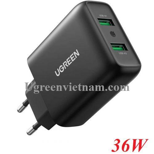 Ugreen 10216 36W QC3.0 2 cổng USB màu Đen Củ sạc nhanh CD161 20010216