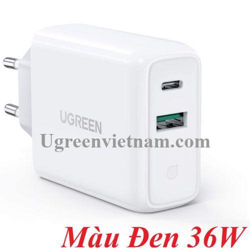 Ugreen 60469 36W QC3.0 - 4.0 sạc USB A và type C màu đen CD170 20060469