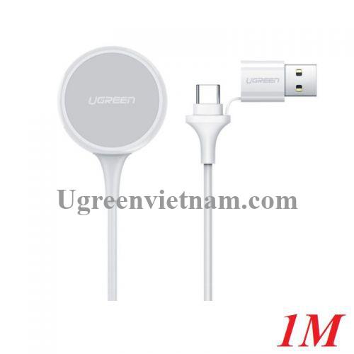 Ugreen 60969 1M 5V 1A Sạc cho iwatch đồng hồ thông minh Apple điện vào cổng type C và usb có Chip MFI Màu Trắng CD177 20060969