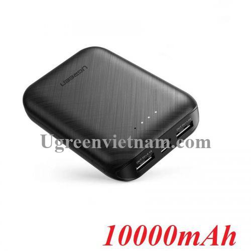 Ugreen 60874 10000mAh 5V 2.1A Sạc dự phòng 2 cổng ra USB type A - 2 nguồn vào cổng Micro và type C PB133 20060874
