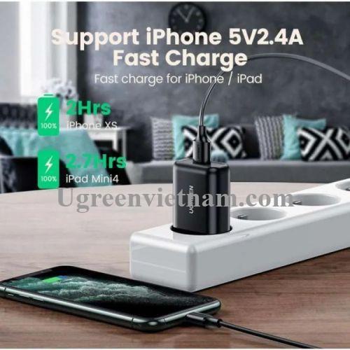 Ugreen 70273 18W QC3.0 Màu đen Củ sạc nhanh usb Quick Charge 3.0 CD122 20070273