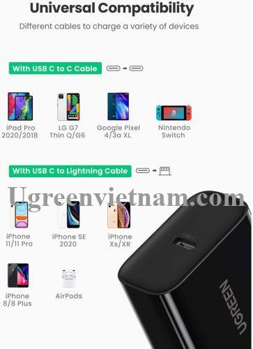 Ugreen 10184 18W PD3.0 usb type c màu đen sạc nhanh chuẩn US ABS plastic CD137 20010184