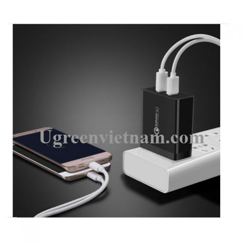 Ugreen 70151 36W QC3.0 2 cổng USB màu Đen Củ sạc nhanh CD161 20070151