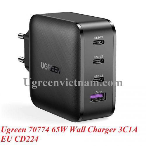 Ugreen 70774 65W PD3.0 GaN EU màu đen 3C + 1A sạc siêu nhanh 4 cổng 3 x usb type C và 1 x A CD224 20070774