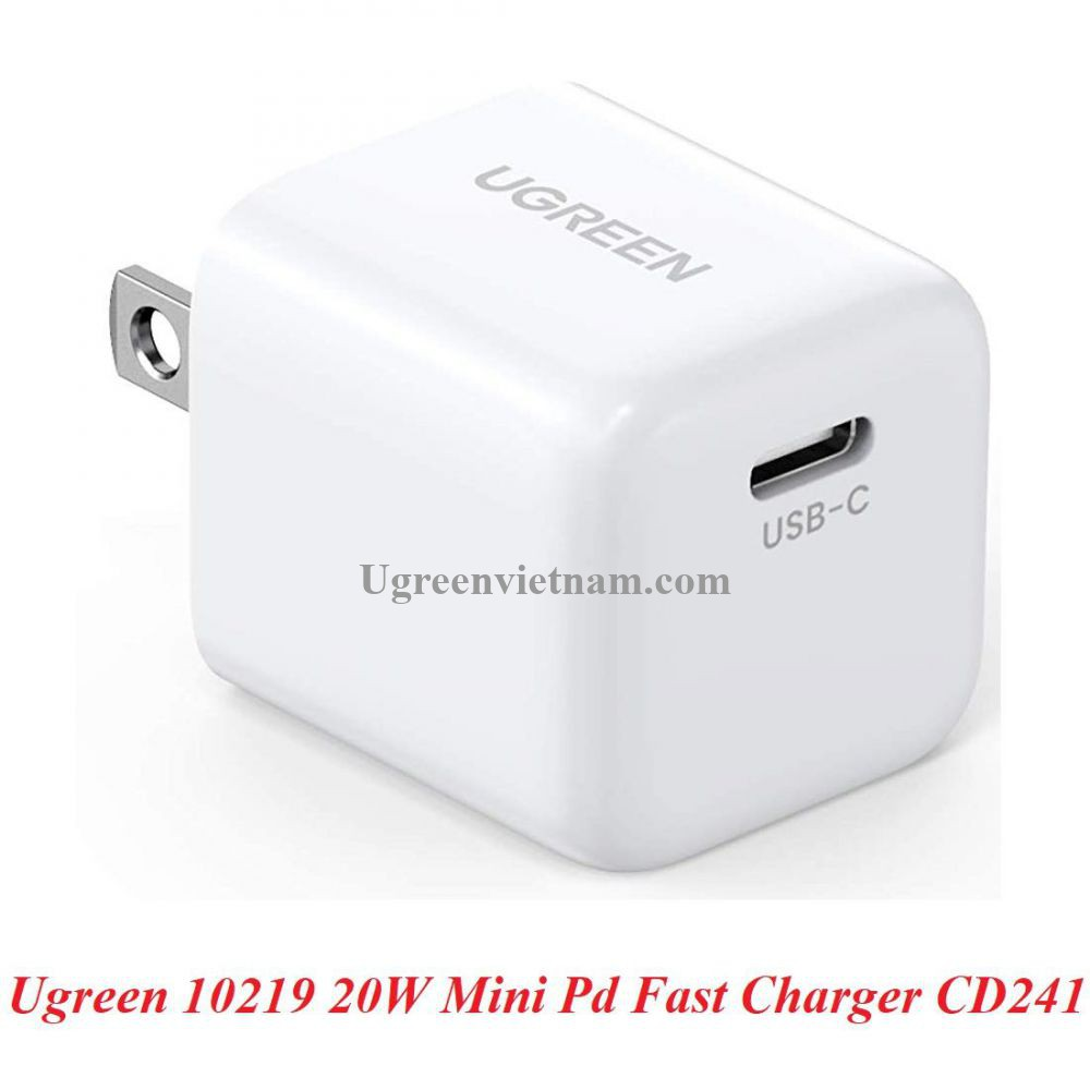 Ugreen 10219 20W PD sạc nhanh cổng usb type c power delivery chân sạc chuẩn US màu trắng CD241 20010219