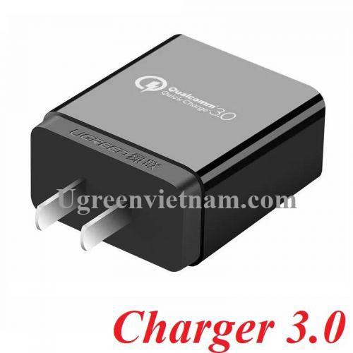 Ugreen 20908 Màu Đen Bộ sạc nhanh chuẩn Quick Charge 2.0 + 3.0 Usb CD122