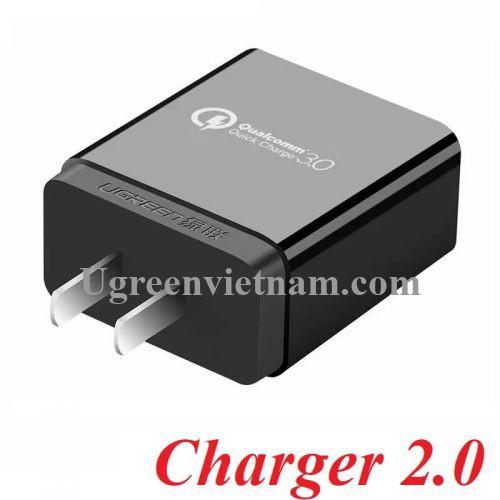 Ugreen 40407 Màu Đen Củ sạc nhanh  QC 3.0 tiêu chuẩn Fcp CD122