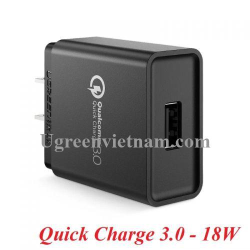 Ugreen 20904 18W qc3.0 sạc nhanh USB Quick Charge 3.0 màu đen 20904 20020904