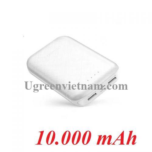 Ugreen 60873 10000mAh Sạc dự phòng 2 cổng sạc ra USB sử dụng cùng lúc 2 điện thoại - nguồn input cổng Micro USB và USB type C PB133 20060873