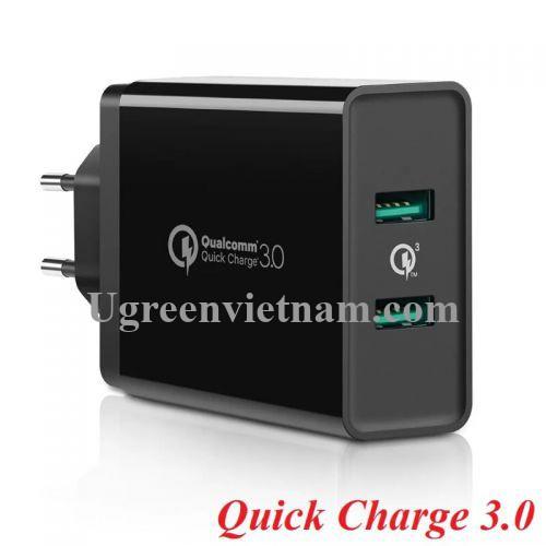 Ugreen 40585 Màu Đen Củ sạc nhanh QC 3.0 hỗ trợ 2 cổng USB CD161