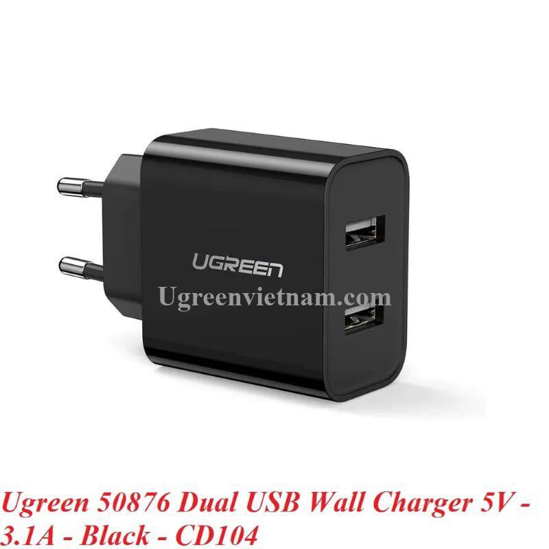 Ugreen 50876 5V 3.1A sạc đôi 2 cổng màu đen USB CD104 20050876