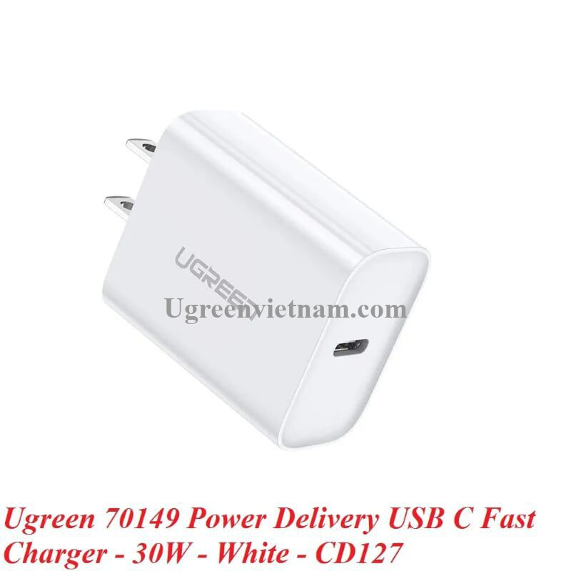 Ugreen 70149 30W type c PD sạc nhanh chuẩn usb power delivery màu trắng CD127 20070149