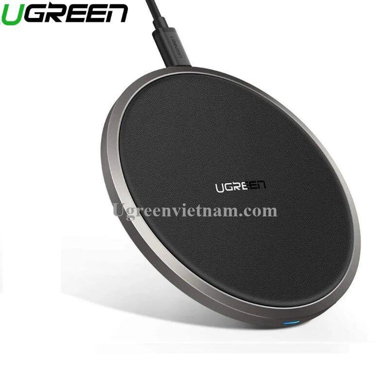 Ugreen 50517 10W sạc nhanh chuẩn QI không dây màu đen có phủ lớp chống trượt CD176 20050517